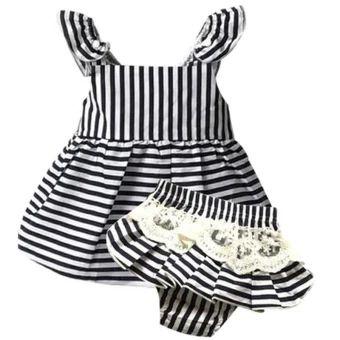 จัดส่งฟรี  Baby kids dress new born girl&boy Cotton stripe dress+shorts0-24month summer(black)  ราคาเพียง  320 บาท  เท่านั้น คุณสมบัติ มีดังนี้ Cotton& Stripe Good quality 0-24month summer Color:As shown in the picture