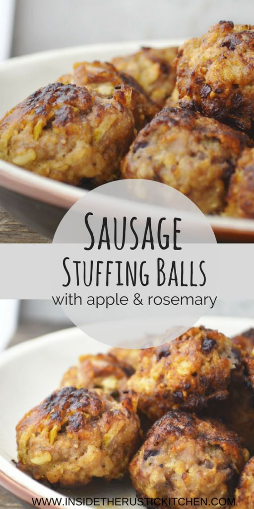 Delicious bite-sized Sausage Stuffing Balls recipe, Perfect along side your Christmas Day roast or festive party spread! www.insidetherustickitchen.com