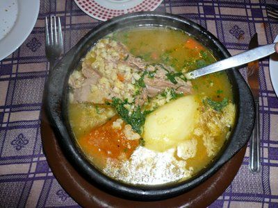 Ajiaco....(This soup can be prepared with leftover roast. In the broth are added roast potatoes, chopped onions, pepper, parsley, salt, pepper, cumin and oregano.  It is of Colombian origin, but is very popular in Chile)