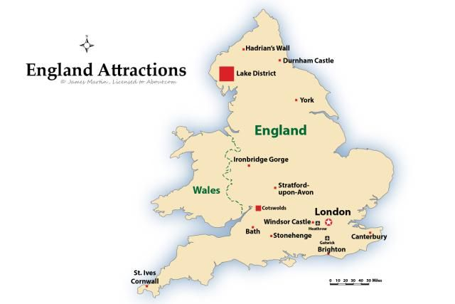 Map of England showing the top tourist attractions in the country, including Hadrians Wall, Stonehendge, the Cotswolds, and Bath.