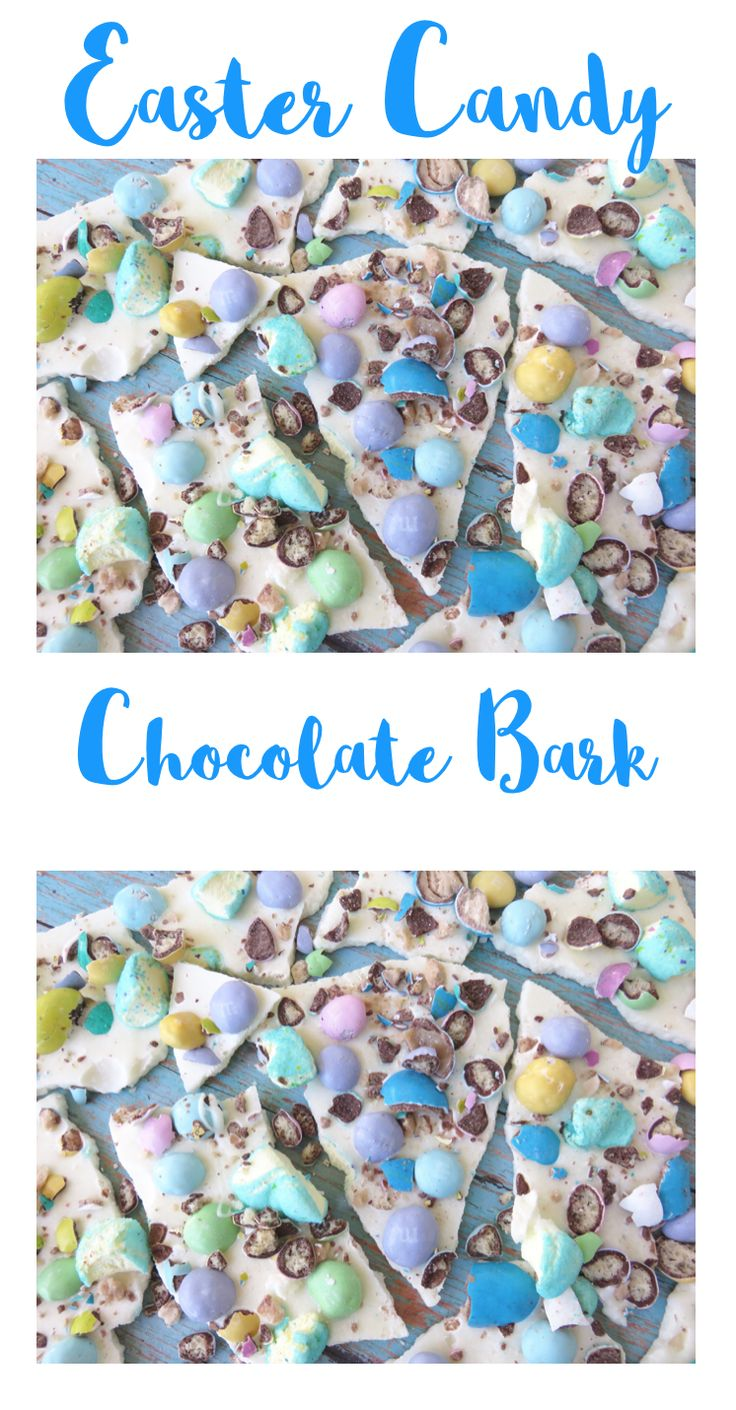 Easter Candy Chocolate Bark. A super easy spring treat. A great way to get rid of all that extra Easter Candy.