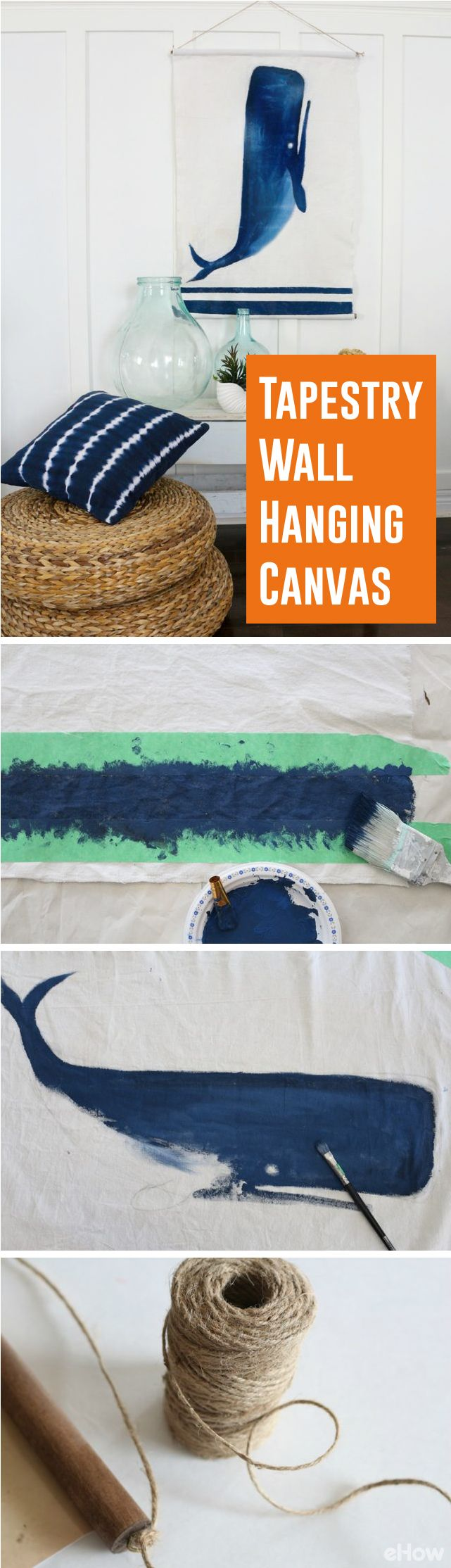 This shows you how to paint this design AND hang this canvas tapestry on your wall! This instantly spruces up an empty corner, bringing warmth and texture to your walls. This nautical-inspired design lends a beachy cottage look to any space and can be customized according to color preference. DIY wall hanging tapestry directions here: http://www.ehow.com/how_10054929_make-tapestry-wall-hanging-canvas.html?utm_source=pinterest.com&utm_medium=referral&utm_content=freestyle&utm_campaign=fanpage