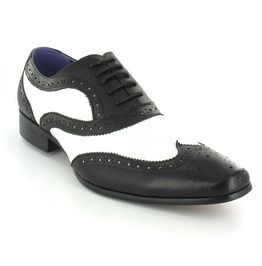 Handmade Men Formal Leather Shoes, Men Black And White Dress Shoes