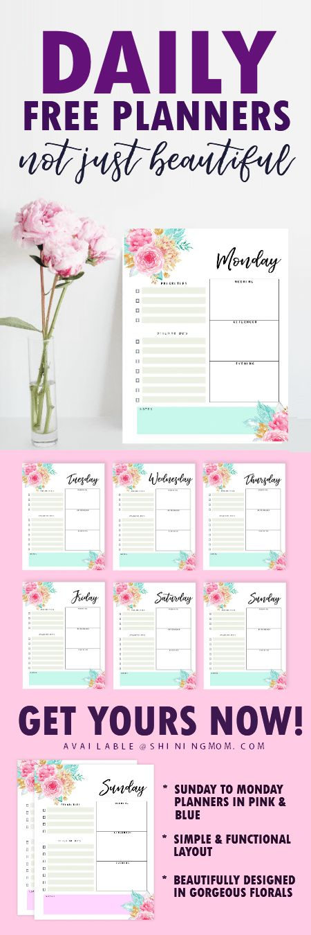 This brilliant free printable daily planner 2018 will help you have beautiful day! Print for free! #planner #dailyplanner #2018 #printable