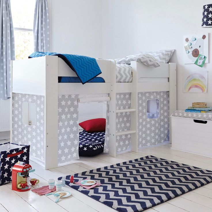 paddington mid sleeper bed with grey star play den all beds beds