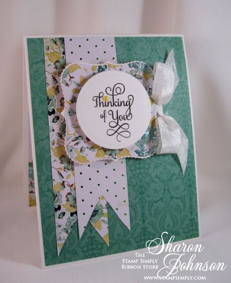 Sympathy card - Kaisercraft Secret Admirer paper - for The Stamp Simply Ribbon Store.