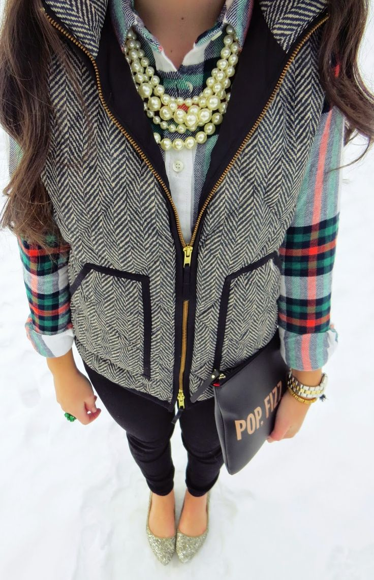Pair your holiday plaid with a quilted vest for a classic and festive winter vibe.
