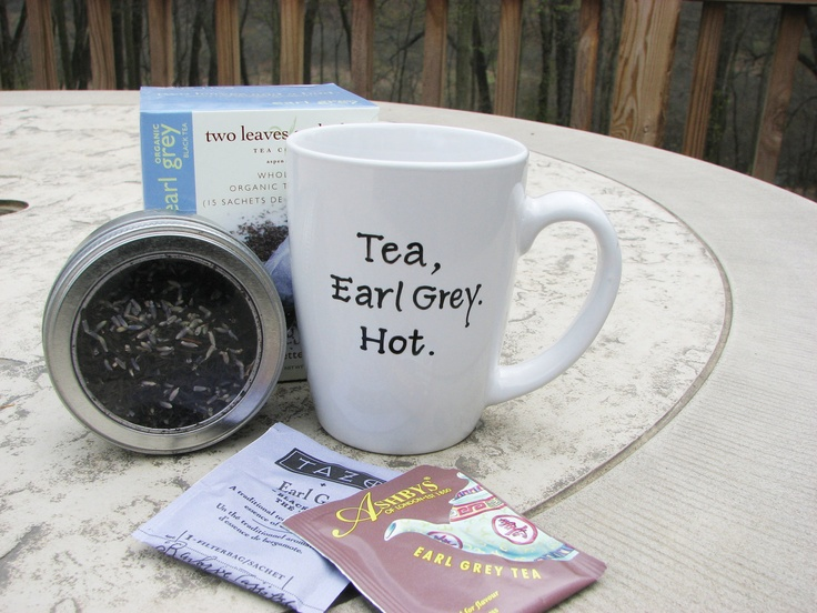 Earl Grey Tea Mug with Quotation from Jean-Luc Picard. $13.95, via Etsy.
