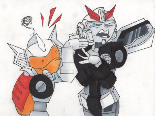 transformers more than meets the eye mtmte chromedome prowl art draw work copic markers