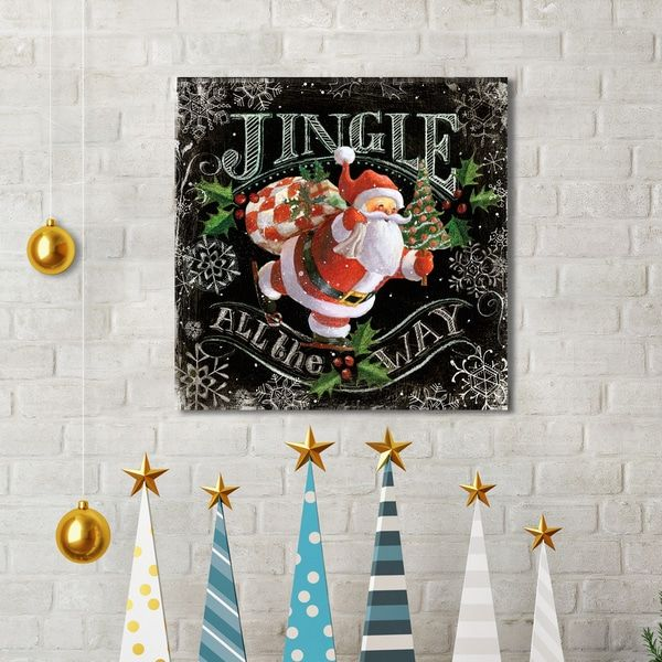 Portfolio Canvas Decor Geoff Allen 'Chalk Santa Jingle Black' Canvas Print Wall Art