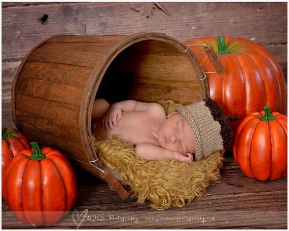 Acorn Hat - Knit Acorn Hat - Fall - Halloween - Newborn Photography Prop - Sizes Newborn - Toddler