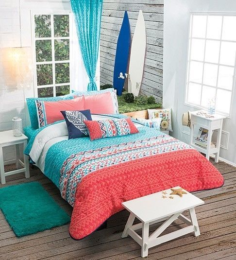 Twin Full Queen Girls and Teens Aztec trendy Comforter Set / Matching Curtains