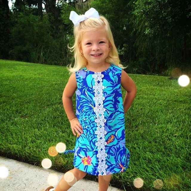 """Little Emily Grace having some fun in the sun in South Carolina in her Mai Tai shift! How adorable is she?! #pinkpalm #lillypulitzer"""