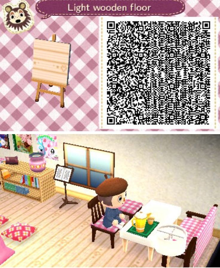 Animal crossing HHD light wooden floor qr code