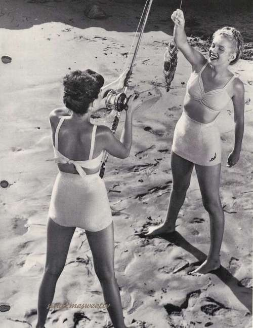 "A young Norma Jeane (Marilyn Monroe) models the ""Temptation"" bathing suit for Jantzen in 1947"