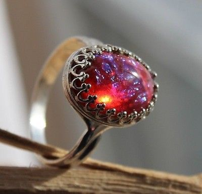 Dragons Breath Fire opal ring set in bright Sterling Silver, SIZE 8