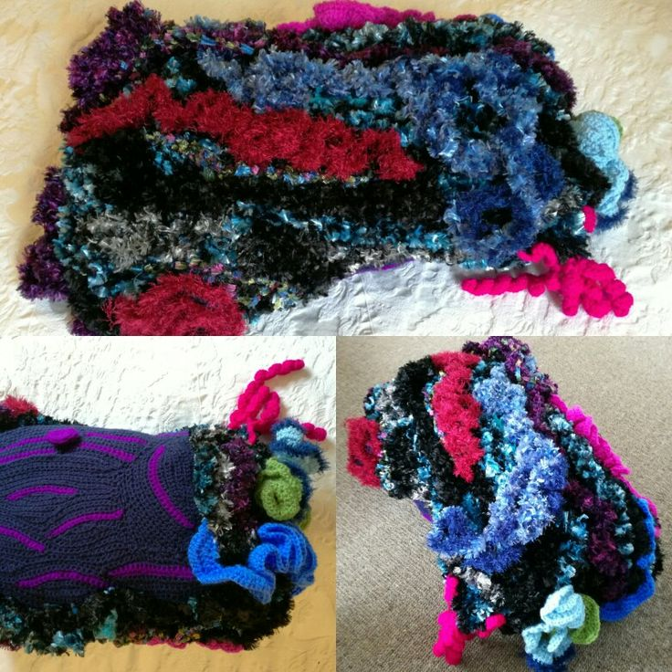 Freestyle freeform crochet. Finished and made in a cushion cover.