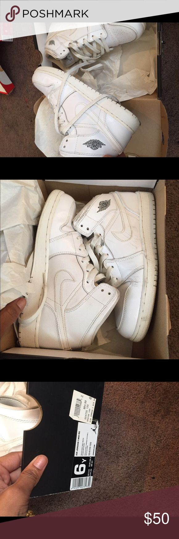 Jordan's 1's The all white Jordan 1's pretty dirty but can be used for practice with paint or reinvention. Size 6 in boys so 8 for women. Jordan Shoes Sneakers