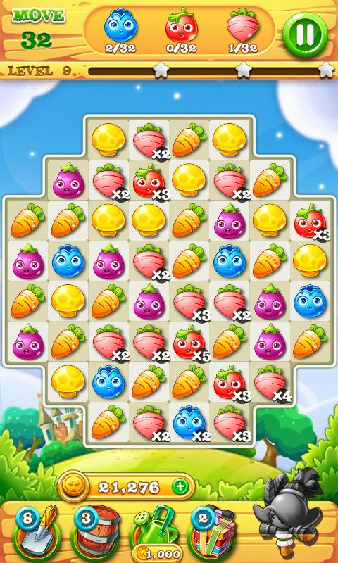 Garden Mania 2 by Ezjoy - Action Phase Fill the Order - Match 3 Game - iOS Game - Android Game - UI - Game Interface - Game HUD - Game Art