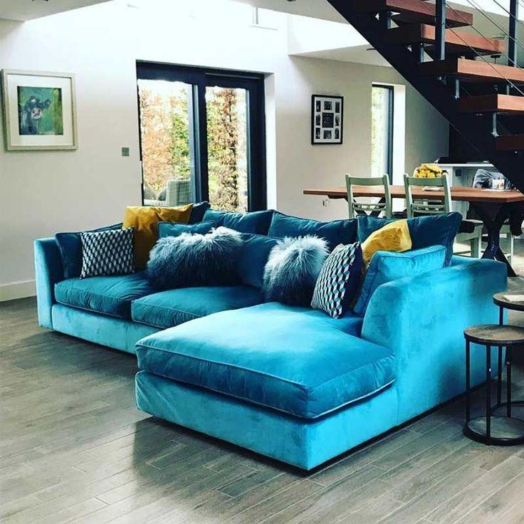 harrington large chaise velvet sofa rhf  barker