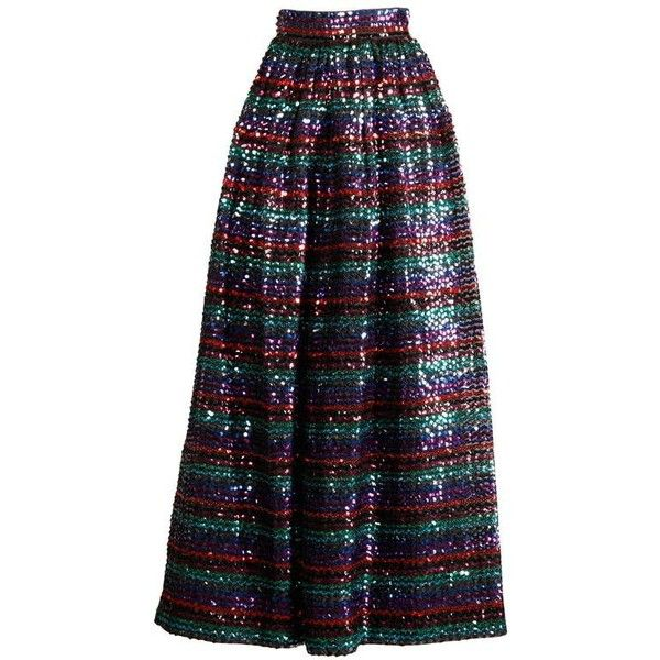 Preowned 1970s Vintage Striped Metallic Sequin Maxi Skirt ($295) ❤ liked on Polyvore featuring skirts, black, pleated skirts, long vintage skirts, vintage maxi skirt, metallic skirts, metallic maxi skirt and sequined skirts