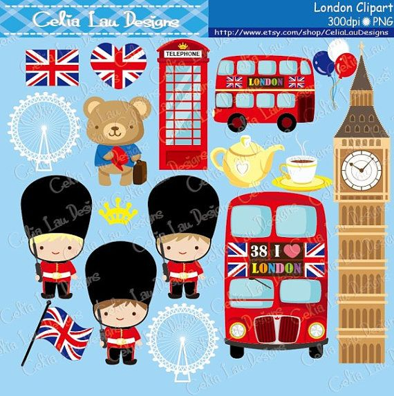 London Digital Clipart set includes 17 cute graphics. Graphics are PERFECT for the Scrapbooking, Cards Design, Stickers, Paper Crafts, Web