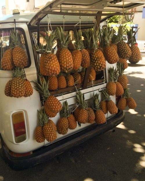 the sights and smells of pineapples for sale.