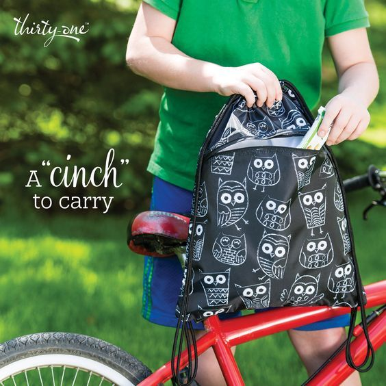 It's Owl Good!!! Get your Thirty-One Gifts Cinch Sac for only $10 when you spend $35! #ThirtyOneGifts #ThirtyOne #Monogramming #Organization #AugustSpecial #CinchSac  #WanderTote #GoToTote