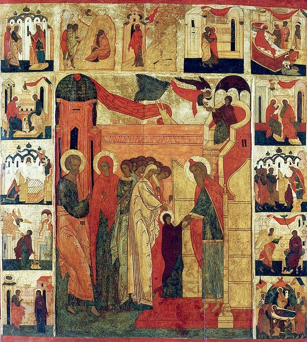 Введение во храм Пресвятой Богородицы. Икона с клеймами. Россия, XVI век