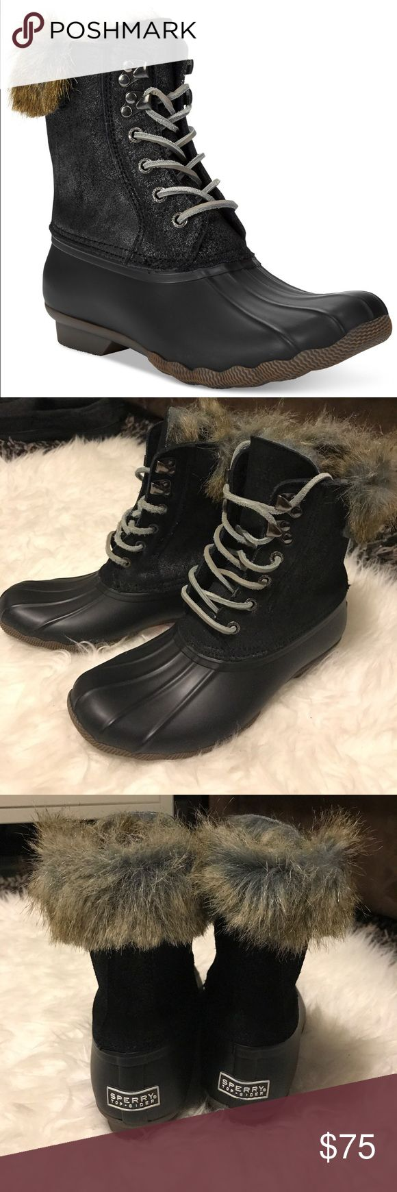 ✨SALE✨Brand New Sperry Top-Sider Duck Boots Brand-new no box. Black Top-Sider White Water Duck Boots. Faux fur. Women's size 6.5. Sperry Shoes Winter & Rain Boots