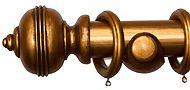 Kestrel Verona 50mm Wood Curtain Pole, Classic, Antique Gold
