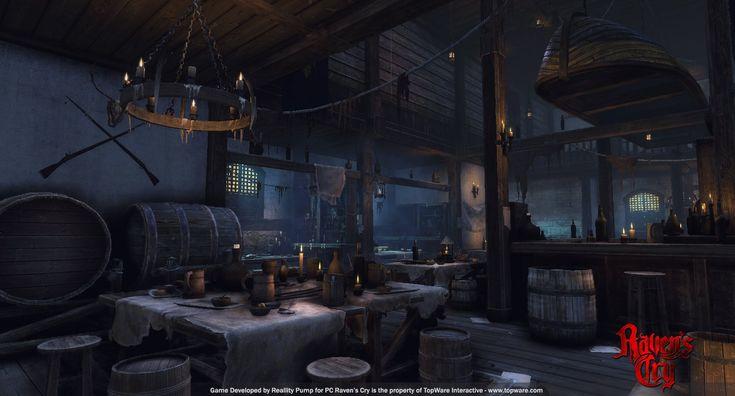 Raven's Cry - Tavern interior 2, Marek Zyguła on ArtStation at https://www.artstation.com/artwork/raven-s-cry-tavern-interior-2