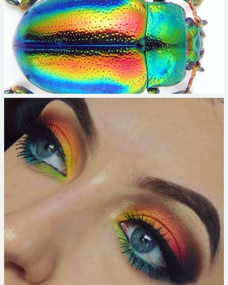 "Olivia 💎 Manson (@meraki.makeup.art) on Instagram: ""Today's inspo💗 • • • • • #bblog #bblogger #beautyblog #beautyblogger #creativemakeup #inspo…"" rainbow makeup goals"
