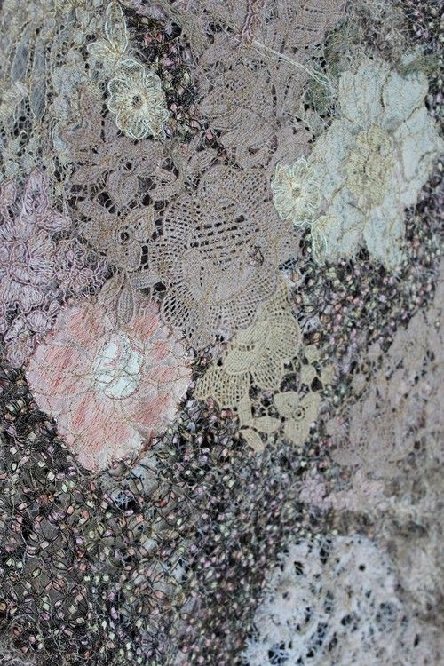 lace collage with watersoluble foil and embroidery by Beata Jarmolowska ,,Under Snow,, collecion Winter 2017