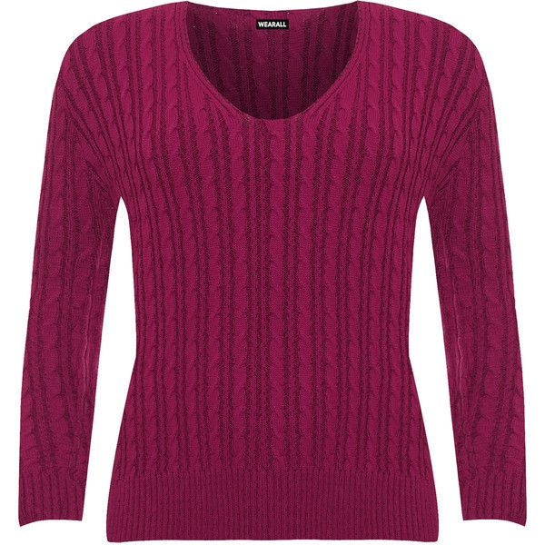 WearAll Plus Size Cable Knit Long Sleeve Knitted Jumper ($27) ❤ liked on Polyvore featuring tops, sweaters, magenta, v-neck sweater, plus size jumpers, purple sweater, long cable knit sweater and long sleeve tops