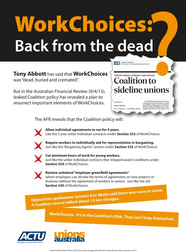 Unions are angry at Coalition leaked documents that show four key WorkChoices policies - that the Australian public clearly voted against - would be resurrected if the Coalition wins government in September.