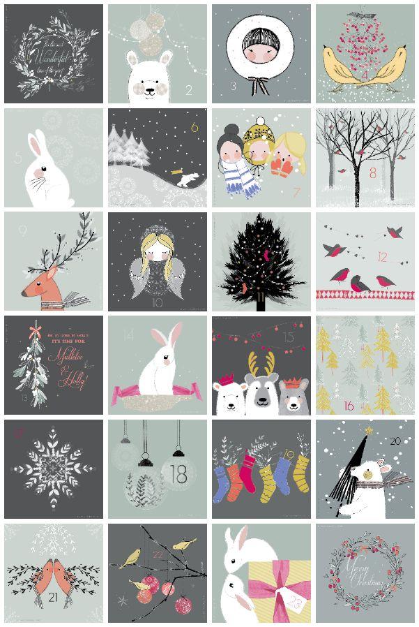 advent, calendar, christmas, illustration