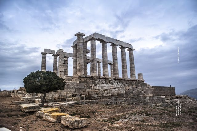 Photo taken by Thanasis Christodoulou. Sounio–Greece. Σούνιο.  Ancient temple of Poseidon. Ναός του Ποσειδώνα. #sounio #greece @photography #temple #poseidon #landscape #sky
