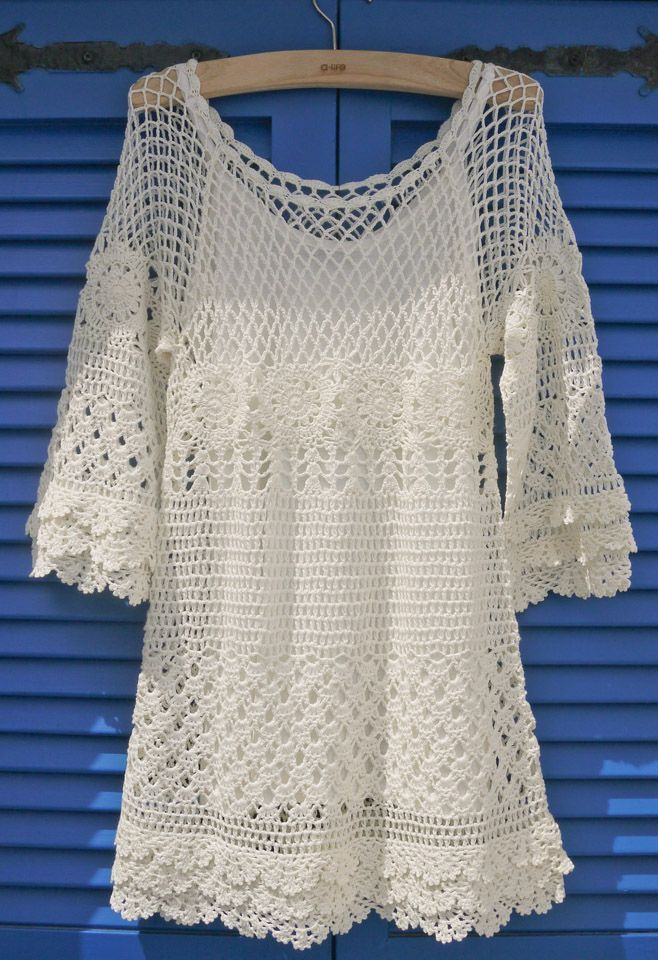 Hand knit Crochet Dress.
