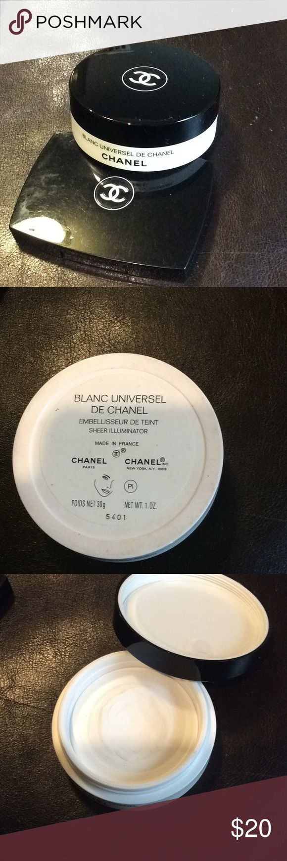 Chanel Blanc Universal De Chanel w/ mirror compact Chanel sheer illuminator has been used a few times.  This can be used under your foundation or as un under eye illuminator or over your make up for a sheer glow.  I am including a mirrored compact that used to be a bronzer but I took the pan out and used as a touch up mirror in my bag. CHANEL Makeup Luminizer