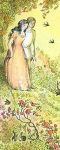 """Jorinde und Joringel - """"Es war einmal ein altes Schloss mitten in einem grossen dicken Wald, darinnen wohnte eine alte Frau ganz allein, das war eine Erzzauberin. Am Tage machte sie sich zur Katze oder zur Nachteule, des Abends aber wurde sie wieder ordentlich wie ein Mensch gestaltet."""""""