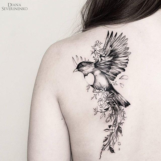 Bird tattoo by Diane Severinenko