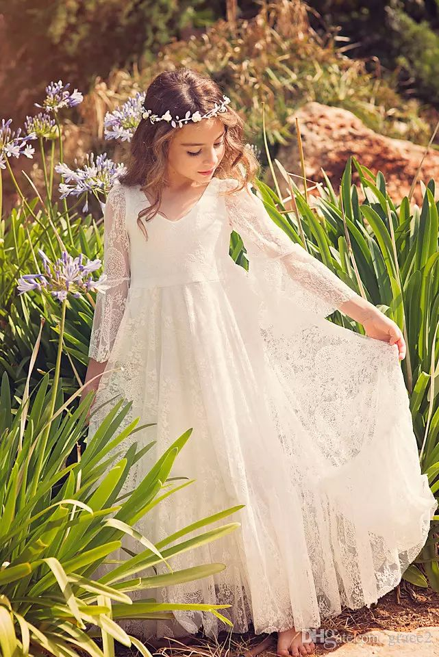 First Communion Dress/Flower Girl Off White Lace Dress/ Boho Chic Girls Dress /Lace Dress For Girls /Boho Flower Girl Dress,Bohemian Wedding Dresses For Girl Flower Girl Dresses Online From Grace2, $86.29| Dhgate.Com