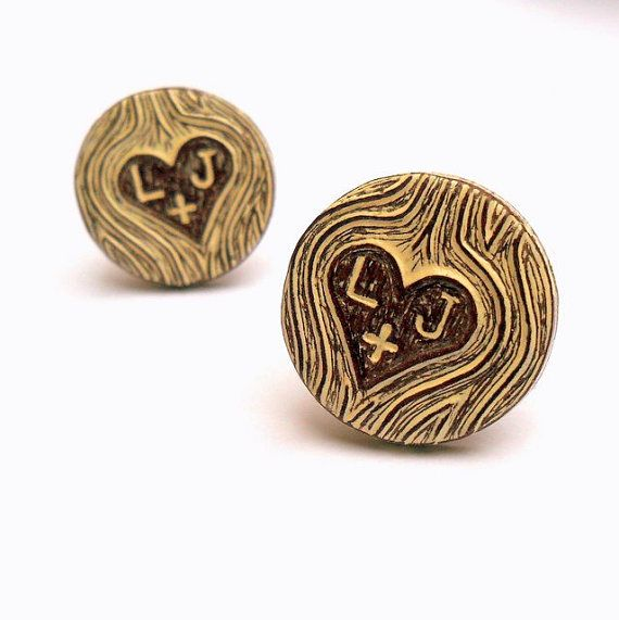 Valentine's Day - Personalized Carved Initials Faux Bois Wood Grain Cufflinks - Wood You Love Me