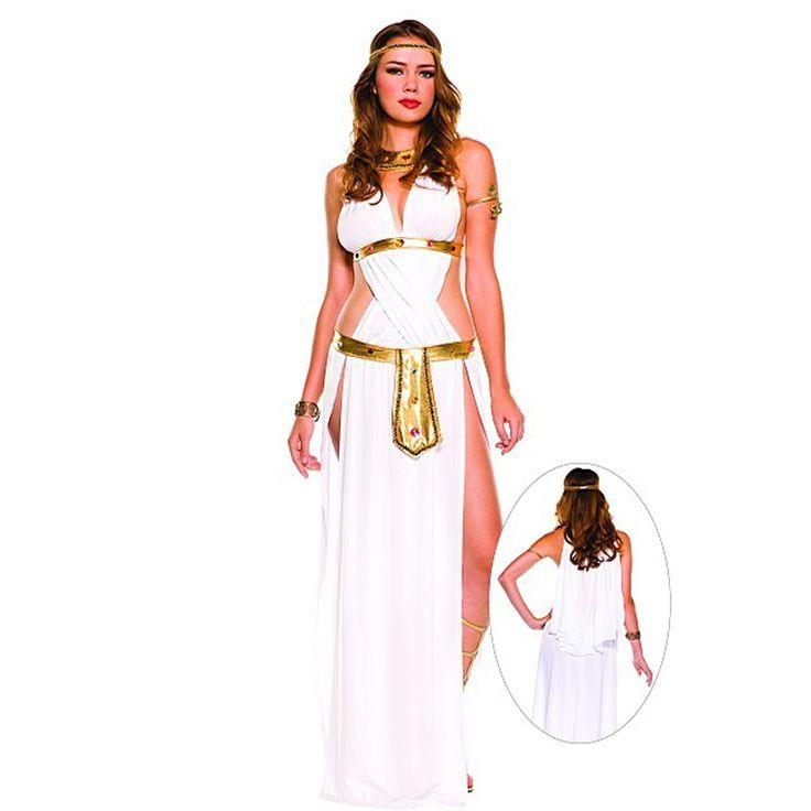 Women's White Sexy Indian Egyptian Goddess Arab Princess Dress Halloween Costumes Cleoptra Queen Cosplay Dress