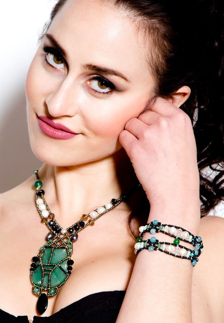 """Olive Leaf Emerald & Pearl"" Bracelet with Emerald, Quartz, Freshwater Pearl, Swarovski Crystals, Sterling Silver tag. www.musesa.com  1"