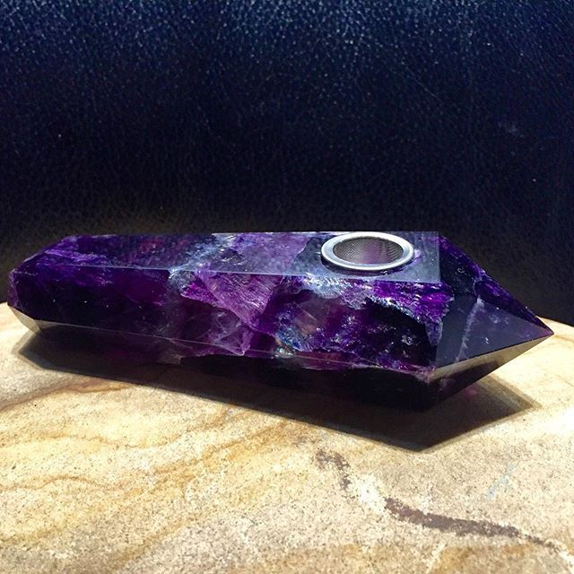 This is handmade Purple Fluorite Crystal Pipe amethystore.com