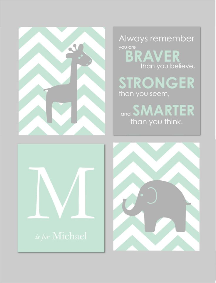 """Mint and Grey Nursery Elephant Nursery Winnie the Pooh Quote Always Remember You are Braver Elephant Giraffe Nursery Set of four 8""""x10""""s by karimachal on Etsy https://www.etsy.com/listing/221934289/mint-and-grey-nursery-elephant-nursery"""