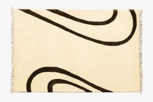 Alfombra Indonepal Blanco-Negro. Alfombra de lana anudada a mano con un tratamiento especial que le da una sensación sedosa y agradable al tacto.  #alfombra #indonepal #decoración #blanco-negro