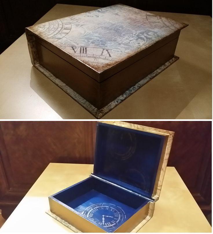 pudło książka, decoupage, szablon, farby i lakier - akryl.